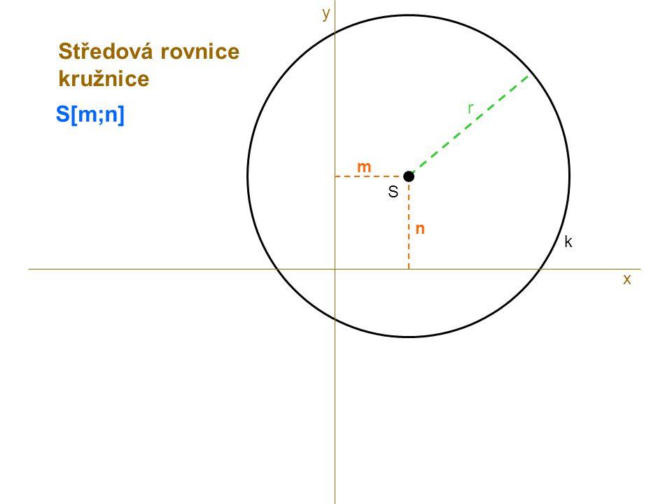 y Středová rovnice kružnice S[m;n] r m S n k x